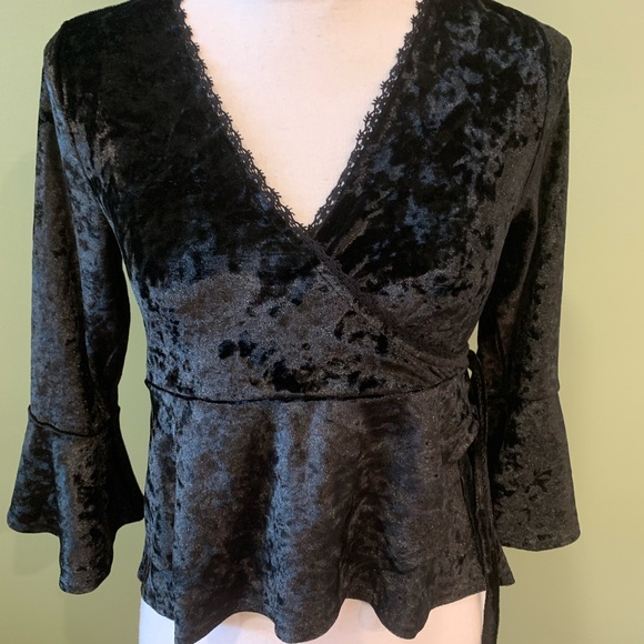 American Rag Tops - American Rag Black Crushed Velvet Shirt Sm NWT